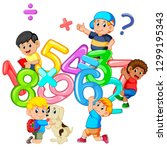 kids playing with big number  | Shutterstock .eps vector #1299195343