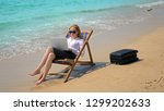 businesswoman working on a...   Shutterstock . vector #1299202633