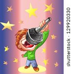 boy singing through a... | Shutterstock .eps vector #129920330