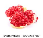 pomegranate isolated on white... | Shutterstock . vector #1299231709