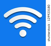 paper wifi on a blue background | Shutterstock .eps vector #129923180