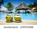 pool with artificial beach and... | Shutterstock . vector #129923588