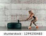 strong muscular caucasian... | Shutterstock . vector #1299250483