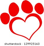 Red Love Paw Print. Raster...
