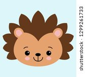 cute flat hedgehog with blush.... | Shutterstock .eps vector #1299261733