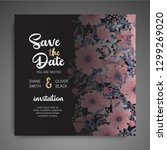 botanical wedding invitation... | Shutterstock .eps vector #1299269020