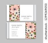 floral business card design.... | Shutterstock .eps vector #1299269053