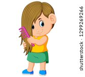 the girl is combing her hair... | Shutterstock .eps vector #1299269266
