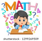the girl is studying on the... | Shutterstock .eps vector #1299269509
