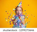 happy birthday child girl with... | Shutterstock . vector #1299273646