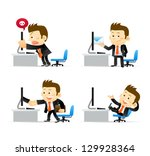 businessman at computer | Shutterstock .eps vector #129928364