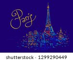france. paris city symbol.... | Shutterstock .eps vector #1299290449
