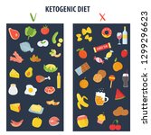 ketogenic diet food  low carb... | Shutterstock .eps vector #1299296623