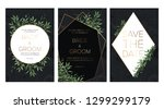 wedding floral invitation  save ... | Shutterstock .eps vector #1299299179