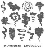 bad smell. smoke clouds. steam... | Shutterstock .eps vector #1299301723