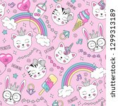 cute animals pattern on a pink... | Shutterstock .eps vector #1299313189