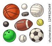 set different kinds sport balls ... | Shutterstock .eps vector #1299324349