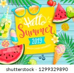 hello summer 2019 yellow card... | Shutterstock .eps vector #1299329890