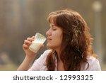 the girl in a morning drinks... | Shutterstock . vector #12993325