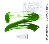 green brush stroke and texture. ... | Shutterstock .eps vector #1299345043
