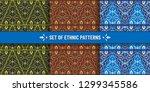 set of ethnic seamless patterns.... | Shutterstock .eps vector #1299345586