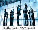 busness background. handshake ... | Shutterstock . vector #1299352600
