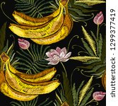 embroidery banana and lotus... | Shutterstock .eps vector #1299377419