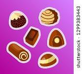 vector set of chocolate candies ... | Shutterstock .eps vector #1299383443