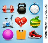 fitness icon set | Shutterstock .eps vector #129939323
