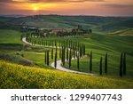 tuscany landscape in spring... | Shutterstock . vector #1299407743