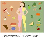 fat and slim woman  before and... | Shutterstock .eps vector #1299408340