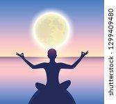 peaceful meditation on a calm... | Shutterstock .eps vector #1299409480