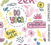 yoga symbols  slogan and... | Shutterstock .eps vector #1299419920