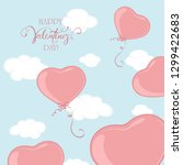 pink valentine balloons in the... | Shutterstock .eps vector #1299422683