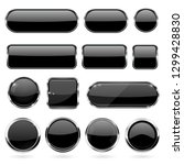 black glass buttons with metal... | Shutterstock .eps vector #1299428830