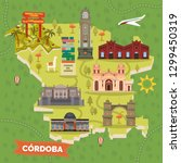 cordoba  argentina map with... | Shutterstock .eps vector #1299450319
