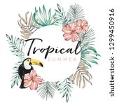 design frame with toucan  palm... | Shutterstock .eps vector #1299450916