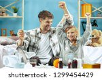 we are healthy. the happy... | Shutterstock . vector #1299454429