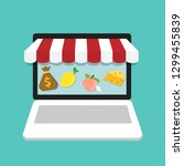 online shopping concept with... | Shutterstock .eps vector #1299455839