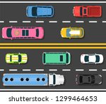 car road topview vector... | Shutterstock .eps vector #1299464653