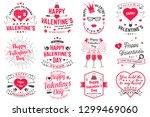 set of happy valentines day... | Shutterstock . vector #1299469060