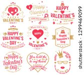 set of happy valentines day... | Shutterstock . vector #1299469099