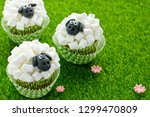 Easter Sheep Cupcakes On Green...