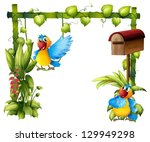 illustration of two parrots... | Shutterstock .eps vector #129949298