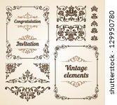 set of vintage ornate frames... | Shutterstock .eps vector #129950780
