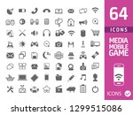 set of 64 media icons isolated...   Shutterstock .eps vector #1299515086