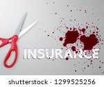 scissor with injured blood and...   Shutterstock . vector #1299525256