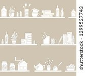 shelves graphic kitchenware... | Shutterstock .eps vector #1299527743