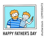 father and son  happy fathers... | Shutterstock .eps vector #1299530473