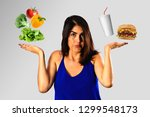 dieting concept  young woman... | Shutterstock . vector #1299548173